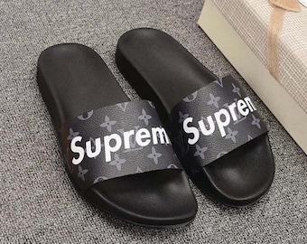 bd7534fbfc1f Custom Louis vuitton x Supreme Hand printed gray women men inspired unisex LV  Slides - Sandals - Flip Flops.
