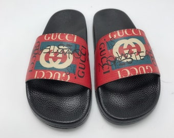 5acec8c75cb4 Custom Gucci Hand printed logo graffiti red women men inspired unisex gucci  Slides - Sandals - Flip Flops.
