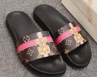 b3b4a4399ef9 Custom Louis vuitton Hand printed chain brown women men inspired unisex LV  Slides - Sandals - Flip Flops.