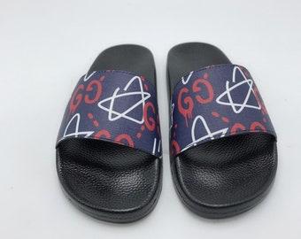 4c03cb28477465 Custom Gucci Hand printed Gucci stars women men inspired unisex gucci Slides  - Sandals - Flip Flops.