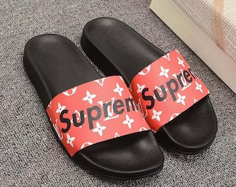 1ce054a86083 Custom Louis vuitton x Supreme Hand printed red women men inspired unisex  LV Slides - Sandals - Flip Flops.