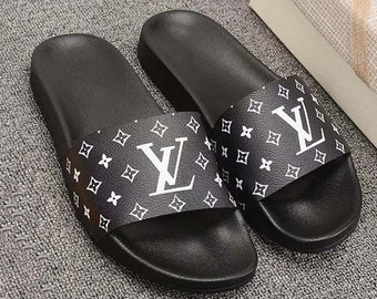 990be3523e64 Custom Louis vuitton Hand printed black women men inspired unisex LV Slides  - Sandals - Flip Flops.