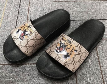 034ea5b25057 Custom gucci hand printed tiger head women men inspired unisex gucci slides  sandals flip flops jpg