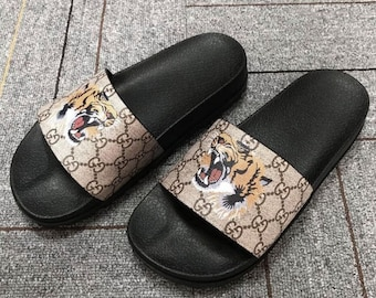 Custom Gucci Hand printed tiger head women men inspired unisex gucci Slides  - Sandals - Flip Flops. a42505ae7a77