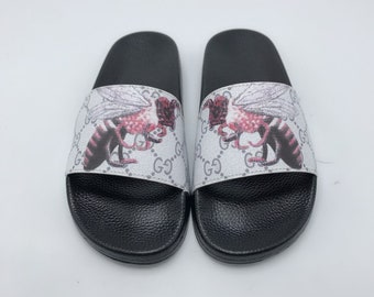 927d1e41012b Custom Gucci Hand printed Gucci big bee women men inspired unisex gucci  Slides - Sandals - Flip Flops.