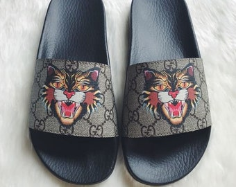 0989a052821 Custom Gucci Hand printed tiger head women men inspired unisex gucci Slides  - Sandals - Flip Flops.