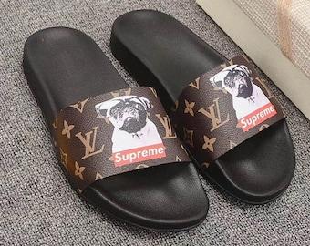 16f843d21f40 Custom Louis vuitton x Supreme DOG Hand printed brown women men inspired  unisex LV Slides - Sandals - Flip Flops.