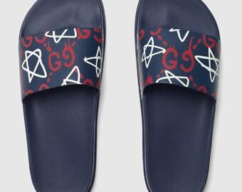 fef77656b21295 Custom Gucci Hand printed Gucci stars women men inspired unisex gucci Slides  - Sandals - Flip Flops.