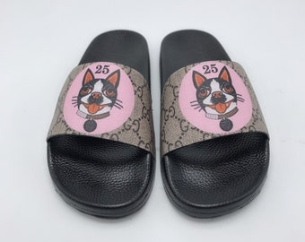 18aad7ae1f5d Custom Gucci Hand printed Gucci DOG women men inspired unisex gucci Slides  - Sandals - Flip Flops.