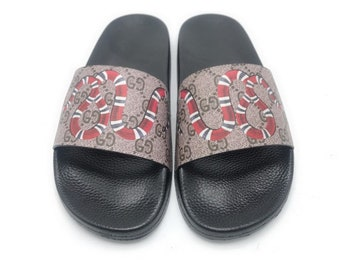 cda794d377b Custom Gucci Hand printed snake women men inspired unisex gucci Slides -  Sandals - Flip Flops.