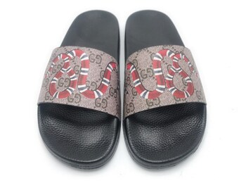 1180aa869f00 Custom Gucci Hand printed snake women men inspired unisex gucci Slides -  Sandals - Flip Flops.