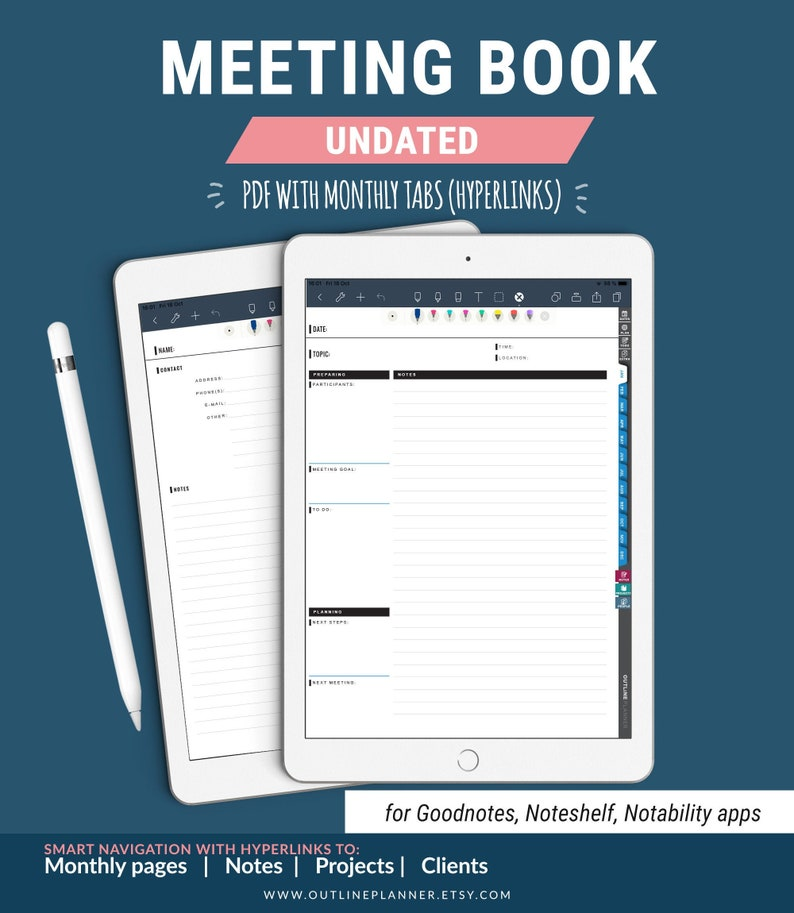 Undated Digital MEETING BOOK Vertical iPad / Goodnotes image 0