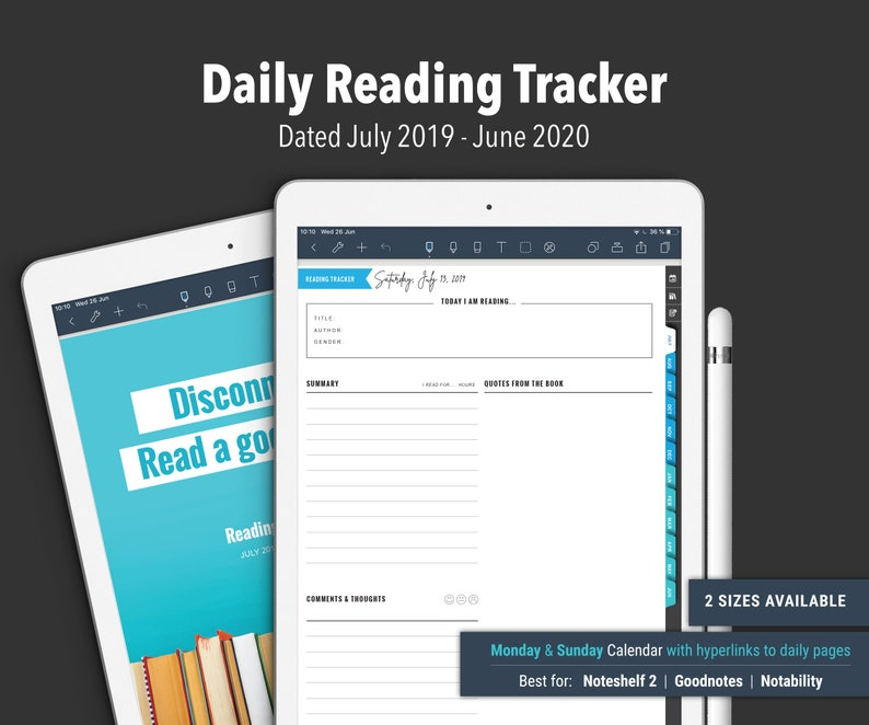 2019/20 DATED Reading DAILY Tracker for Noteshelf 2 image 0