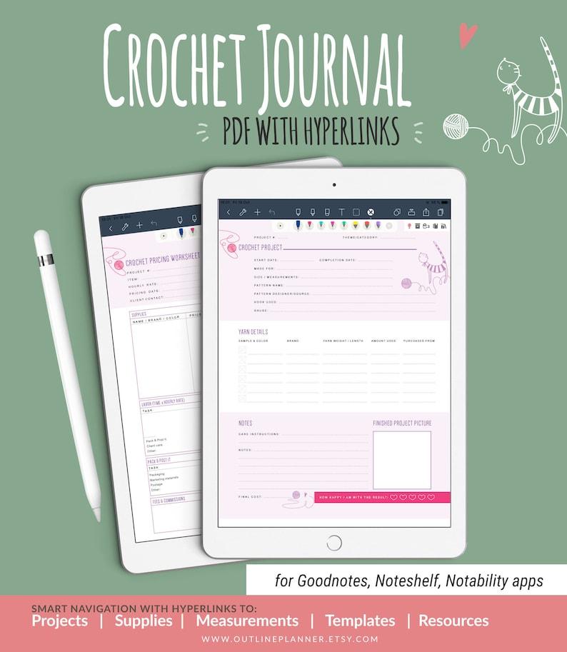 CROCHET Planner with HYPERLINKS / Goodnotes Noteshelf image 0