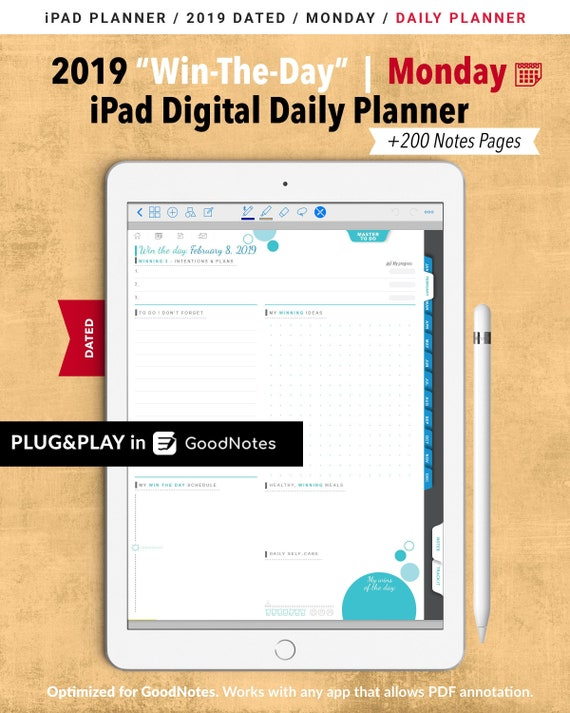 image about The Daily Planner named Earn-The-Working day 2019 Everyday Electronic Planner GoodNotes / MONDAY Calendar / On a yearly basis, Month-to-month, Day-to-day Planner / Everyday Routine / Toward Do Checklist / 200 Notes