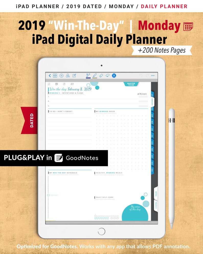 image regarding Digital Day Planner named Get-The-Working day 2019 Day by day Electronic Planner GoodNotes / MONDAY Calendar / On a yearly basis, Regular monthly, Day by day Planner / Day by day Plan / In the direction of Do Record / 200 Notes