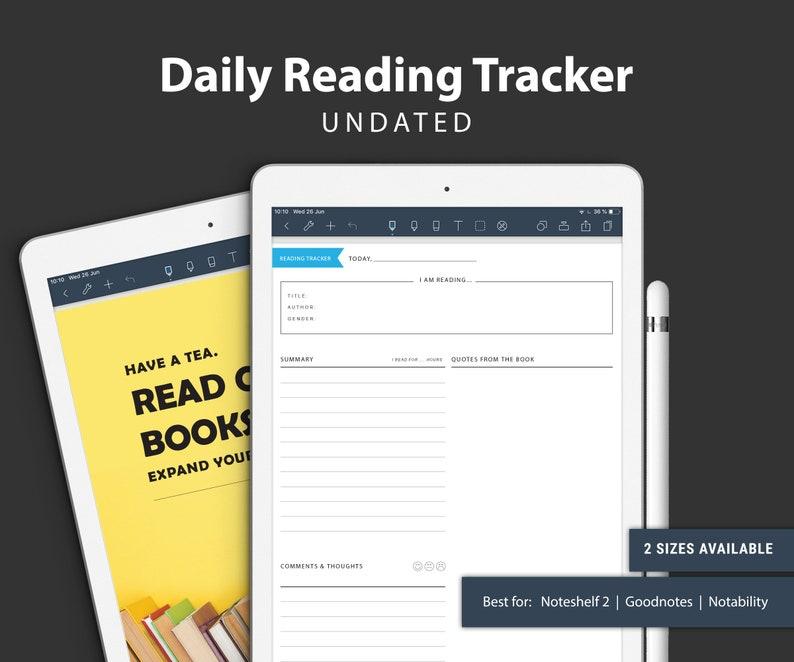 UNDATED DAILY Reading Tracker for Noteshelf 2 Goodnotes image 0