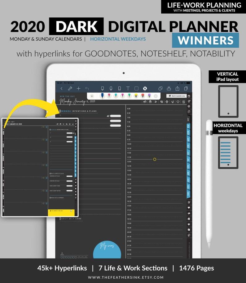 DARK 2020 WINNERS Digital Planner Vertical iPad / Life-Work / image 0