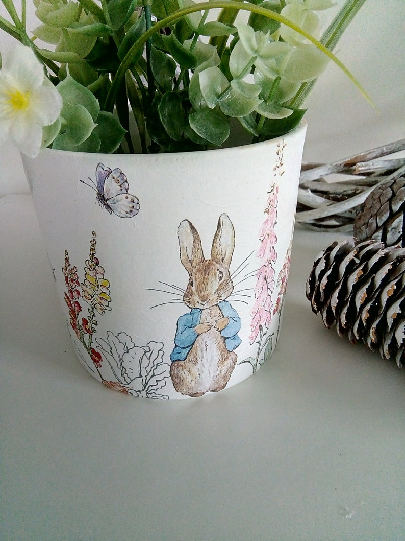 Peter Rabbit Decoupaged Ceramic Flower Pot.
