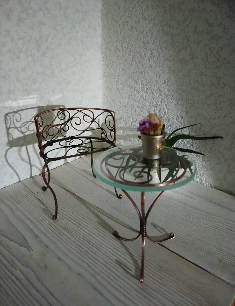 Tavolino rotondo vintage e sedia vittoriana per Blythe 1:6 ...