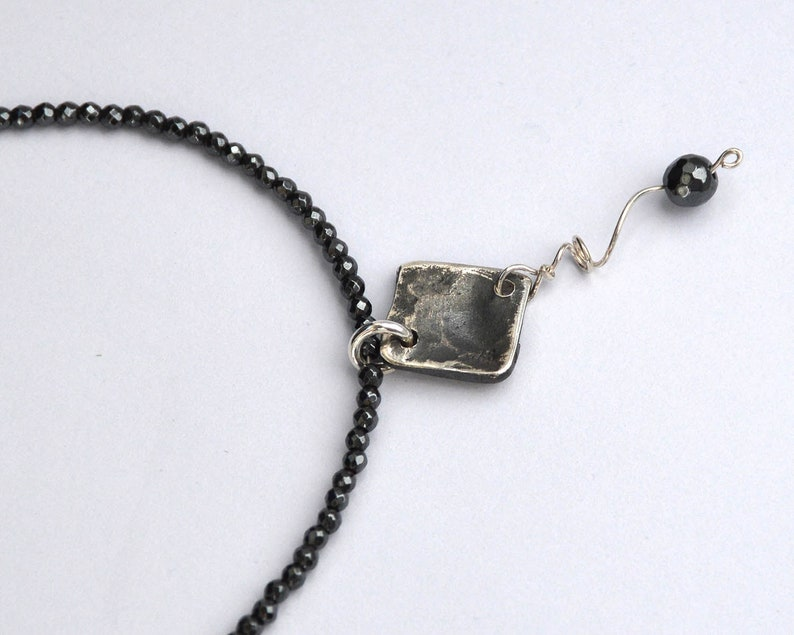 Byzantine Pendant 50th Birthday Gift For Women Faceted Hematite Necklace Repurposed Designer Jewelry