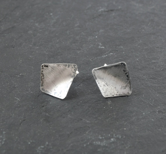 Hammered Stud Earrings 40th Birthday Gifts For Women Modernist Sterling Earrings Brushed Silver Earrings Mothers Day Gift From Husband