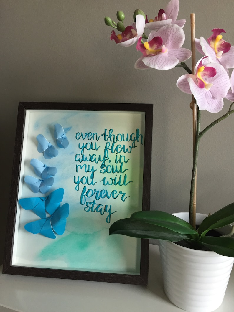 Butterflies away | miscarriage, infant loss, child loss, memorial gift,  baby memorial wall art