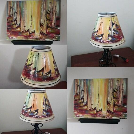 de misma a cuadros composision pintadas Lamparas mano yY6gvf7b