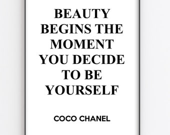 Coco Chanel Series Of 3 Prints Beauty Quote Inspirational Etsy