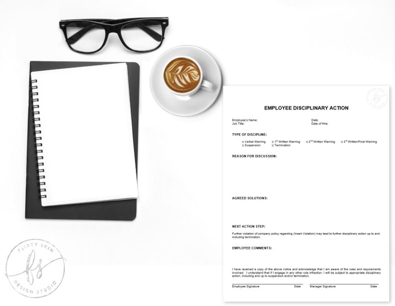 Employee Disciplinary Action Template Spa Salon Medical Etsy