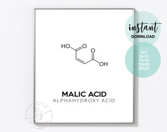 Malic Acid | Esthetician Decor | Spa Quote | Salon Quote | Spa | Salon | Skin Care Quote | Beauty Quote | Medical Spa | Print