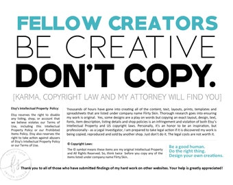 Etsy Sellers: Fellow Creators. Be Creative. Don't Copy. | Be A Good Human | Do The Right Thing | Design Your Own Creations | Flirty Skin