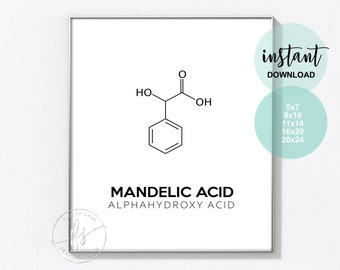 Mandelic  Acid | Esthetician Decor | Spa Quote | Salon Quote | Spa | Salon | Skin Care Quote | Beauty Quote | Medical Spa | Print