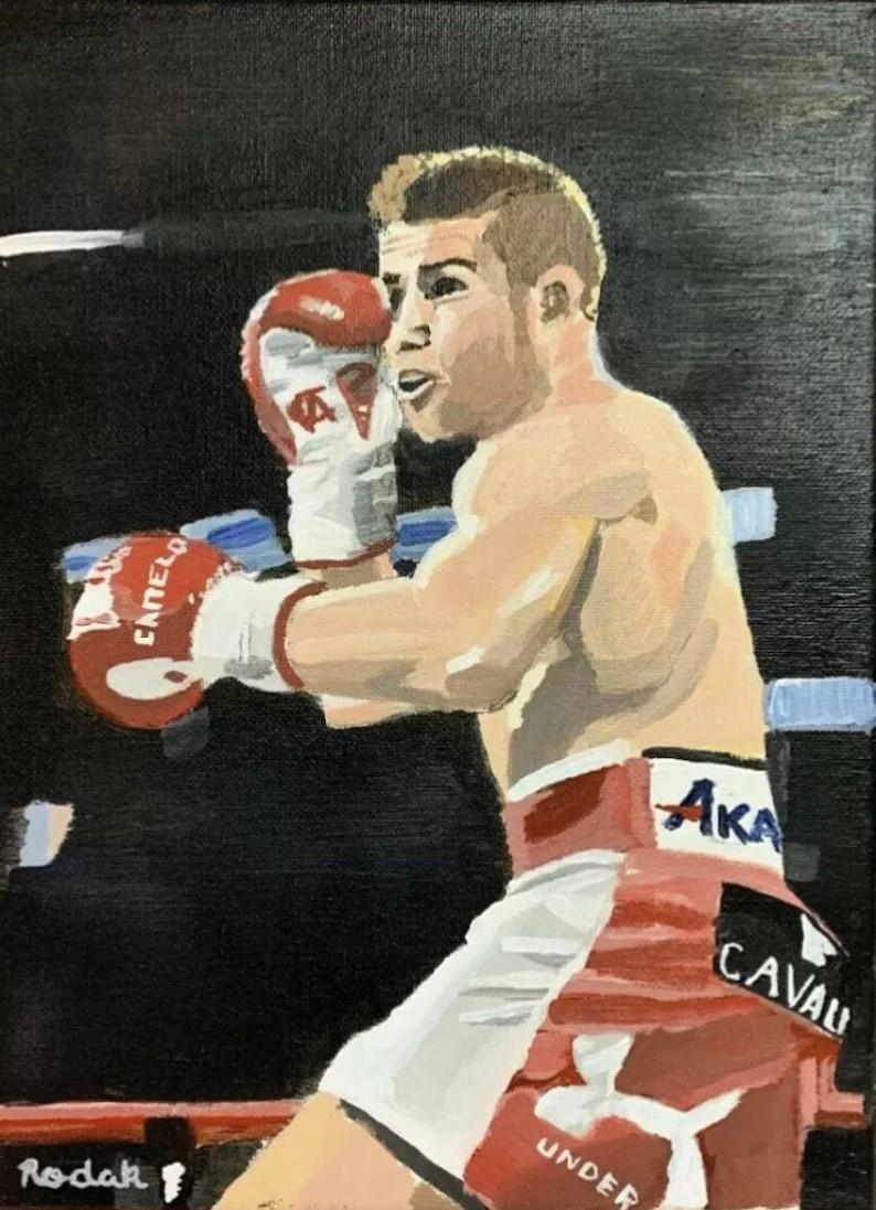 Canelo Alvarez Original Acrylic Painting On Canvas 9\u2019\u2019 X 12\u2019\u2019