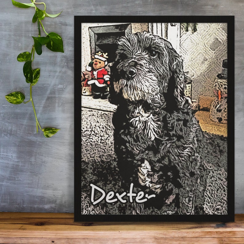 Custom Pet Portrait Frame Print Perfect Gift For Dogs and image 0