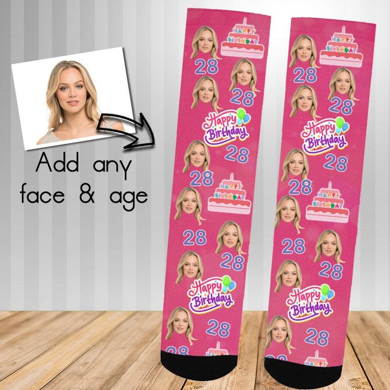 Pink Birthday Age Personalised Face Socks Socks Face Socks image 0