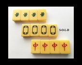 Price Reduced Buy the GREENS or the REDS Royal Depth Control DRAGON Mah Jongg Bakelite Tiles Excellent Condition circa 1960s