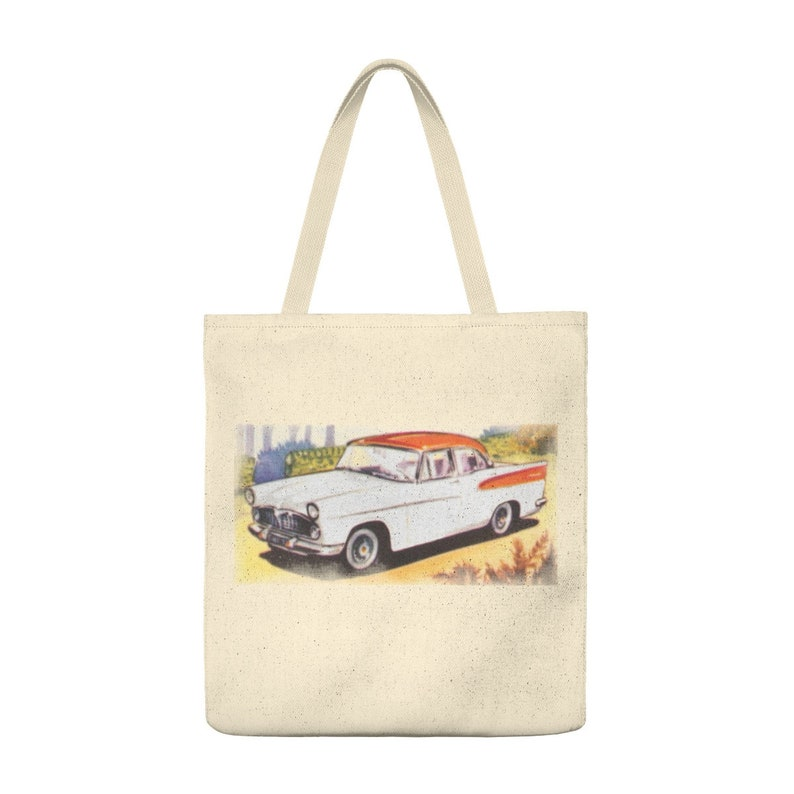Simca Vedette 58 Luxury Car Modernes French Trading Card Illustration Canvas Totebag
