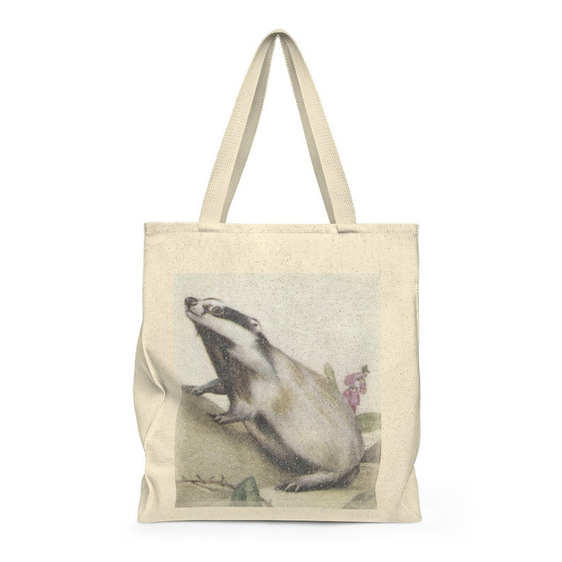 Badger Illustrated Trading Card Painting Canvas Totebag