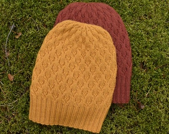 Knitted alpaca beanie for women. Cable knit slouchy alpaca hat perfect for the colder autumn season. More colours inside.