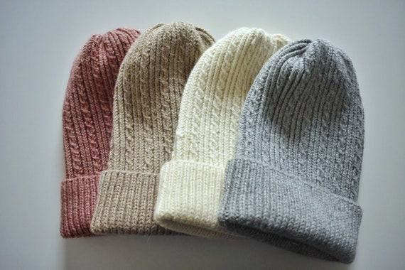 Alpaca wool Beanie Hat/Various Colours Inside/Handmade Wool Ladies Beanie/Warm Autumn Winter Beanie