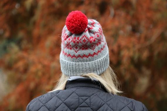 Hand knit wool fairisle bobble hat. Grey-red winter jacquard pompom beanie hat. Ready to ship.