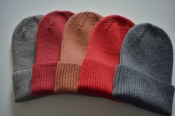 Ribbed merino wool beanie/Various colours inside/ Soft handmade ribbed cuffed beanie/Fisherman merino wool beanie hat/Ready to ship