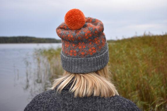 Hand knit jacquard winter bobble hat/Unisex winter fair isle pom pom beanie hat/Grey Orange warm soft winter hat/Made to order