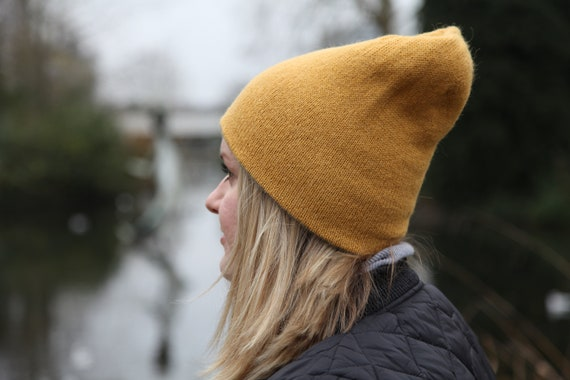 Alpaca reversible hand knit slouchy beanie. Double-sided mustard grey warm soft beanie. Made to order.