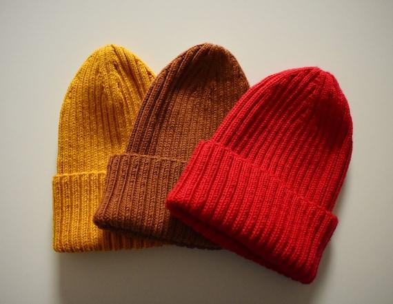 Merino wool fisherman ribbed beanie. Red, Mustard, Brown fisherman adjustable cuff beanie hat.
