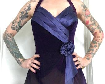 1d442a3a05236 LA Glo Vintage 80s Purple Velvet Halter Dress