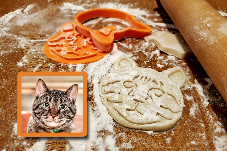Personalized Pet Face Cookie Cutter & Stamp Set  Custom Cat image 0