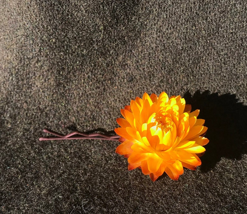 2 Yellow and Orange Star Flower Bobby Pin
