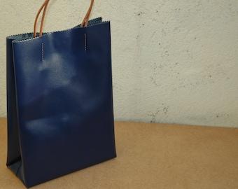 """Kraft"" bag in midnight blue leather, Medium model, adjustable leather cords"